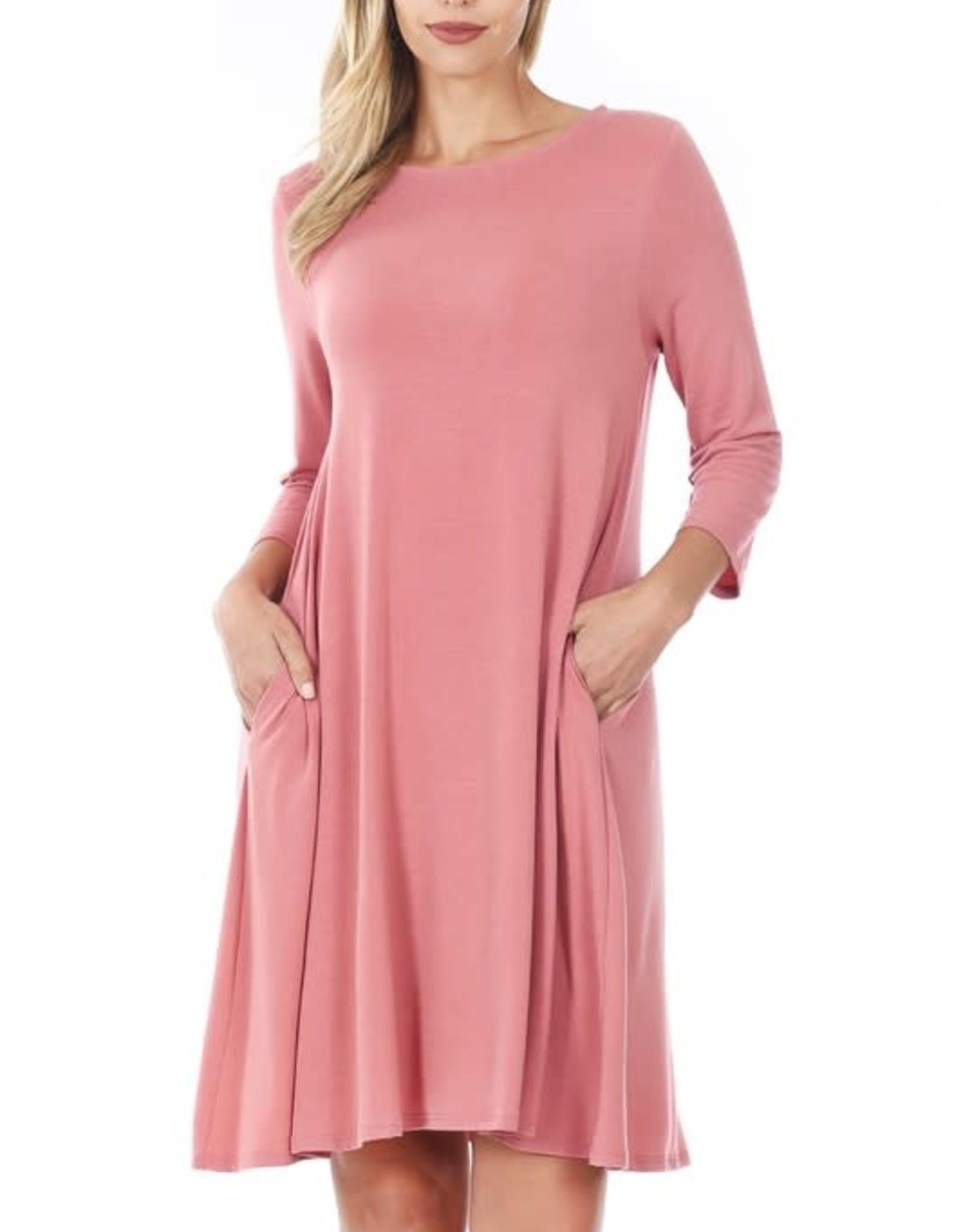 - Dusty Rose 3/4 Sleeve Flare Dress w/Pockets