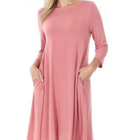 - Dusty Rose 3/4 Sleeve Flare Dress w/Pockets