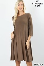 - Mocha 3/4 Sleeve Flare Dress w/Pockets
