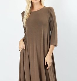- Mocha 3/4 Sleeve Flare Dress w/Pockets