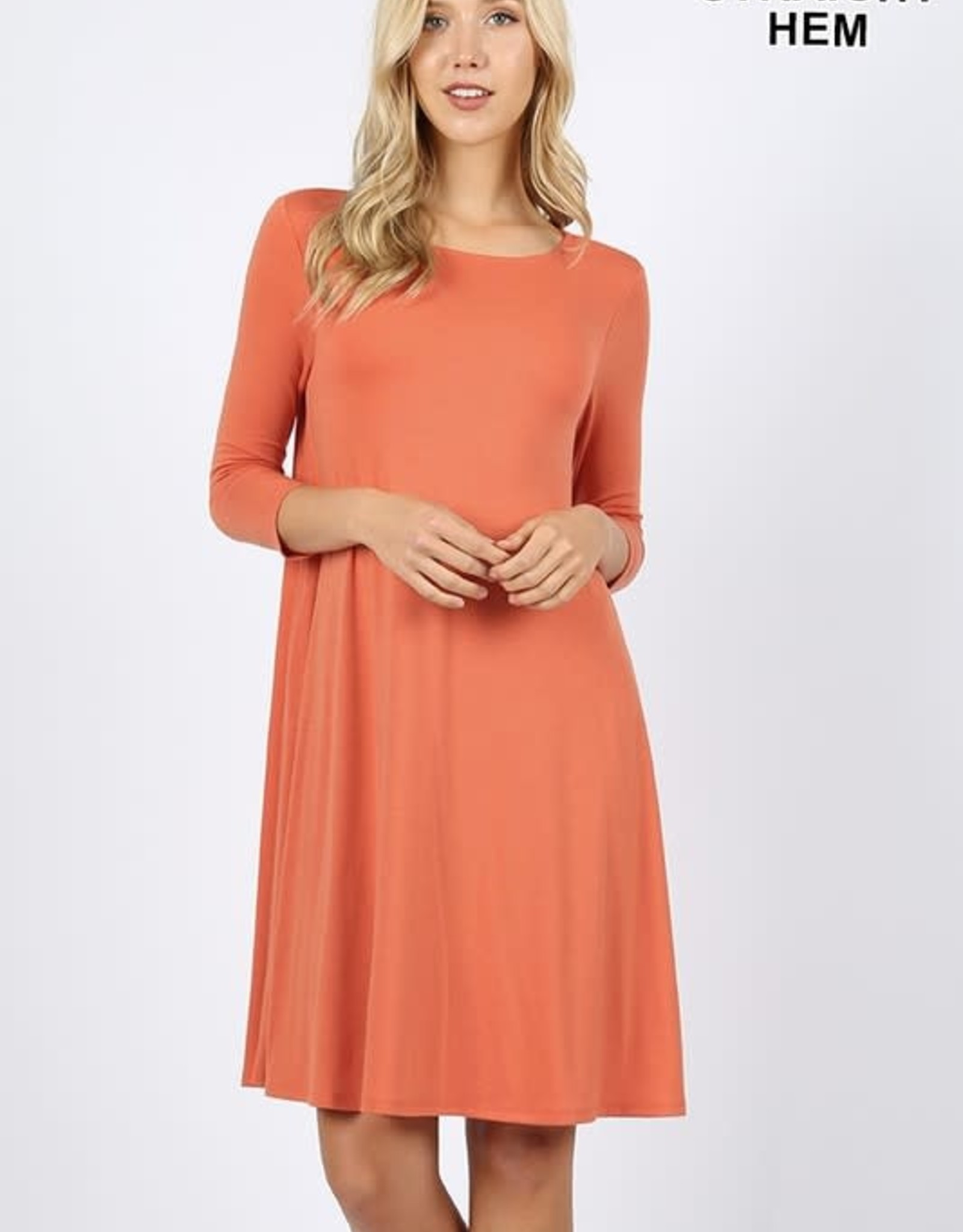 - Ash Copper 3/4 Sleeve Flare Dress w/Pockets
