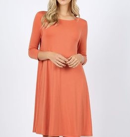 - Ash Copper 3/4 Sleeve Flare Dress w/Pockets