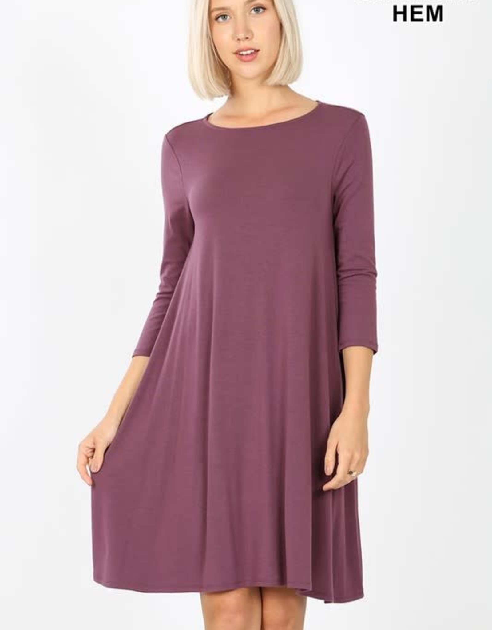 - Eggplant 3/4 Sleeve Flare Dress w/Pockets