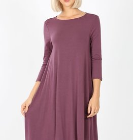 - Eggplant 3/4 Sleeve Flare Dress w/Pockets
