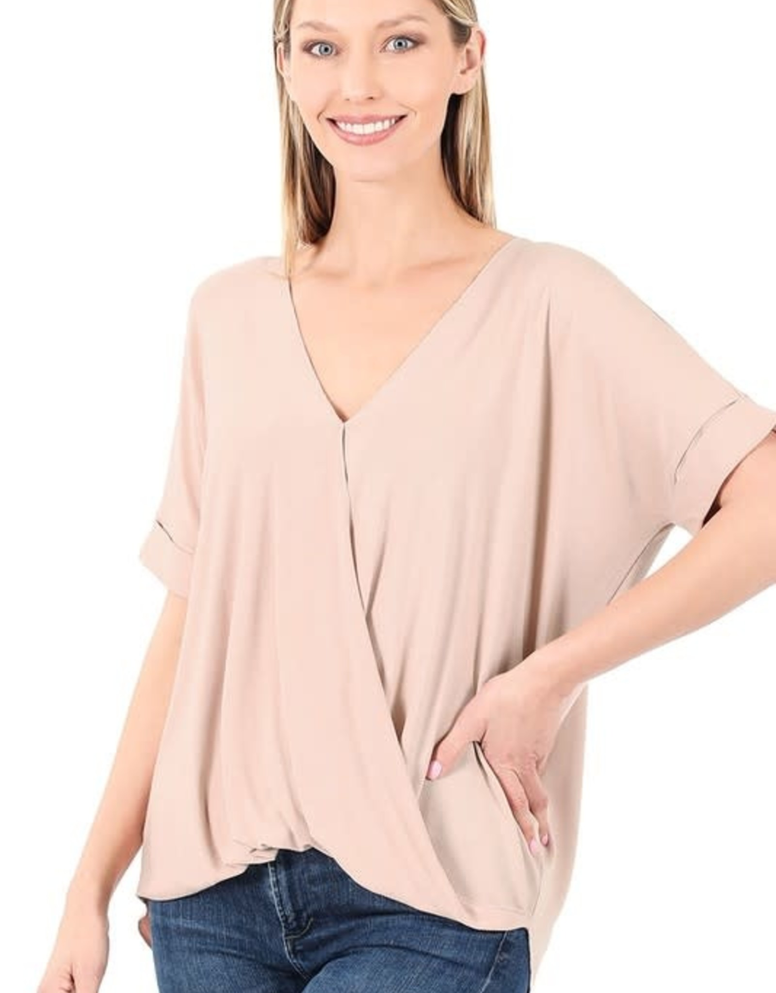 - Dusty Blush Draped Front Short Sleeve Top