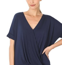 - Navy Draped Front Short Sleeve Top