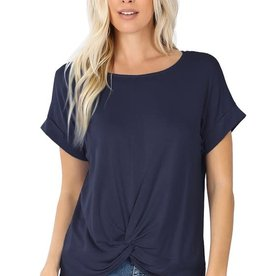 - Navy Rolled Short Sleeve Top w/Knot