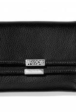 Brighton Black Barbados Double Flap Medium Wallet
