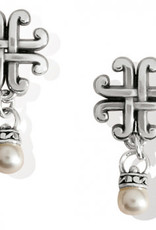 Brighton Taos Pearl Cross Petite Post Drop Earrings