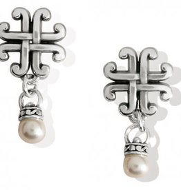 Brighton Taos Pearl Cross Petite Post Drop Earrings