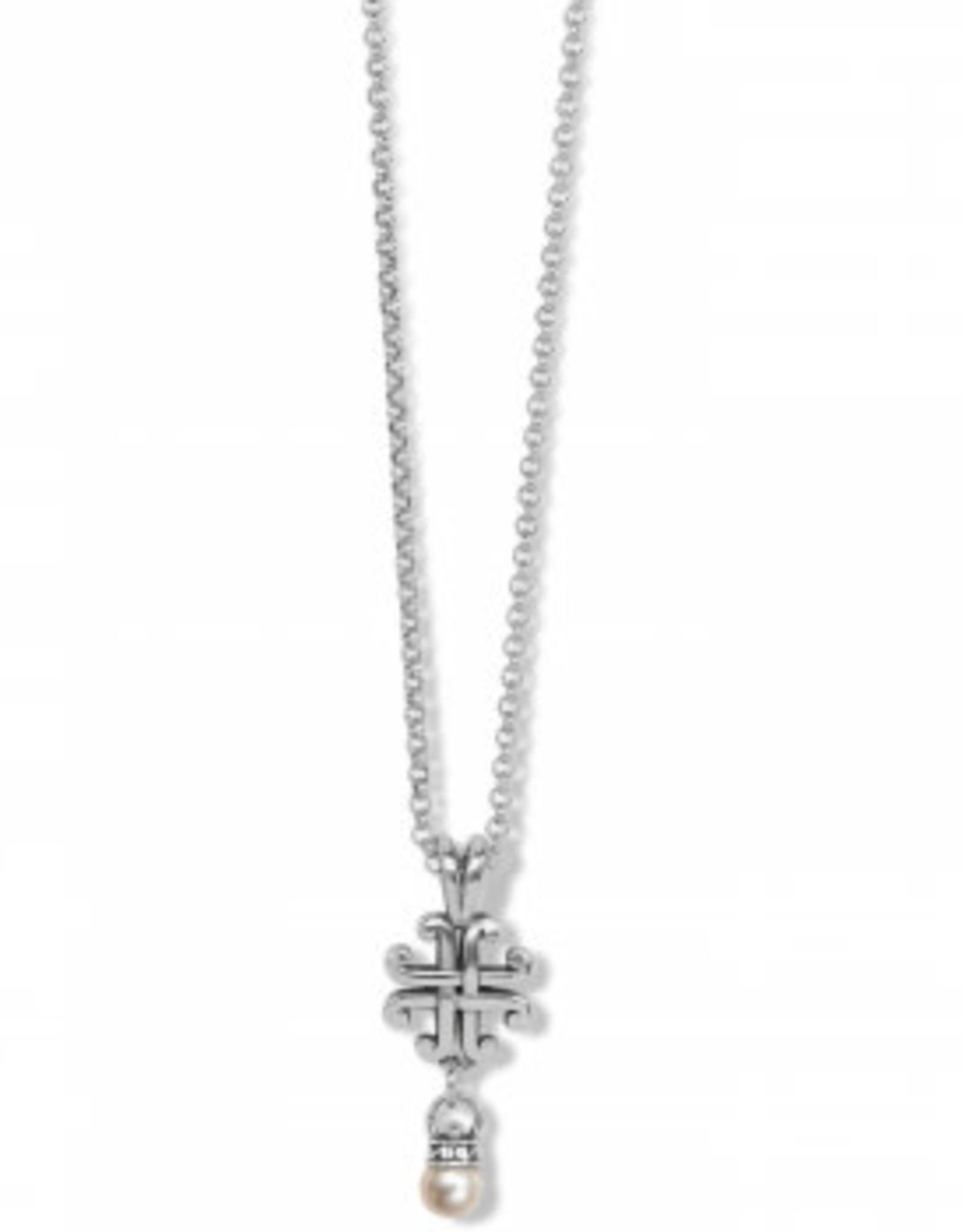 Brighton Taos Pearl Cross Mini Necklace