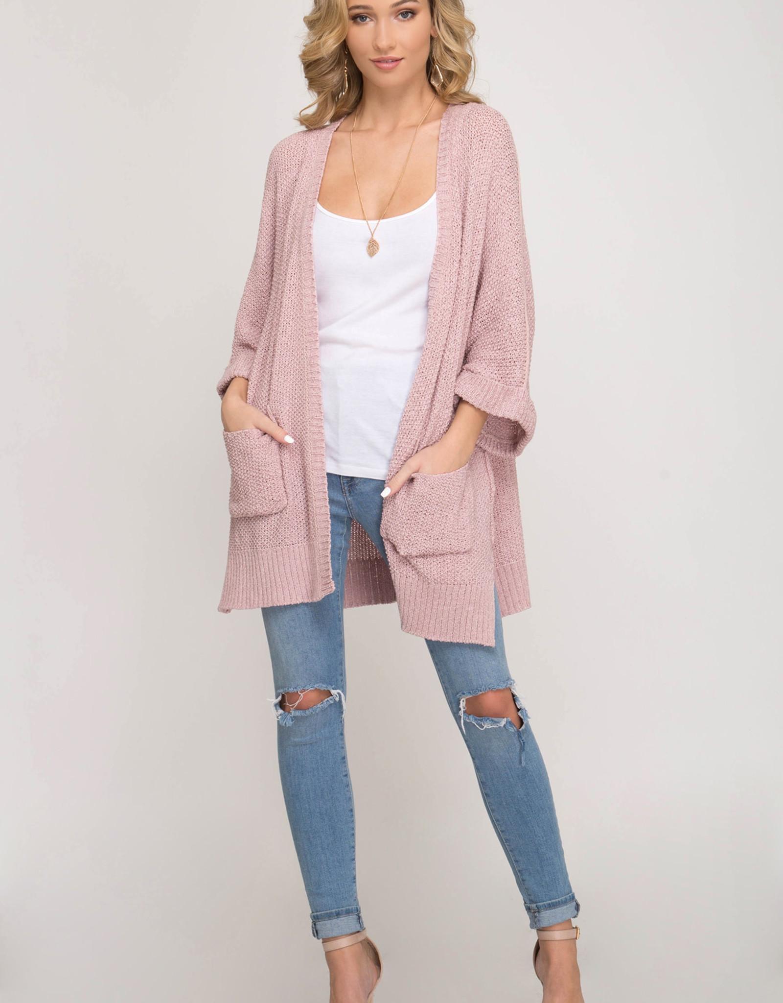 - Misty Pink Half Sleeve Cardigan w/Pockets