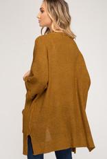 - Caramel Half Sleeve Cardigan w/Pockets