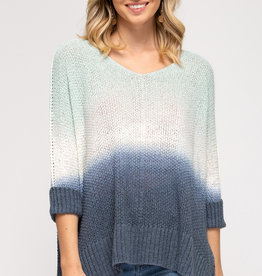 - Mint/White/Navy Ombre 3/4 Sleeve High/Low Sweater Top