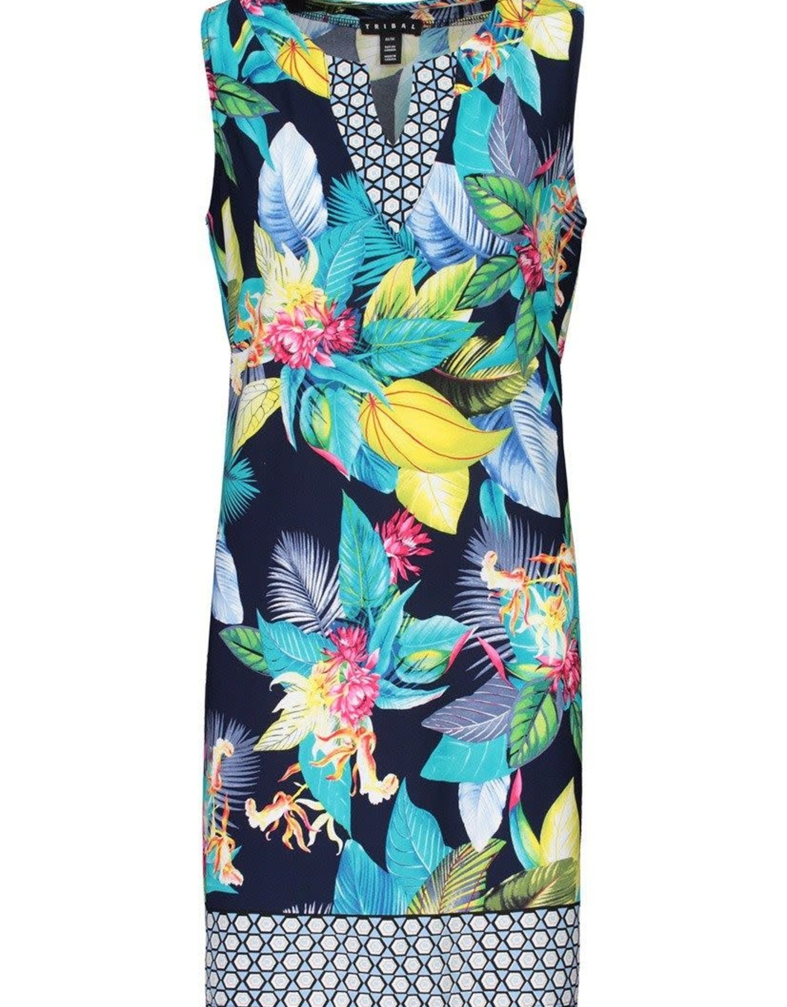 - Multi Color Floral Print Notch Collar Tank Dress