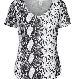 - Black & White Snake Print V-Neck Short Sleeve Top