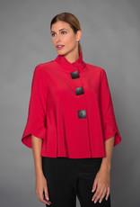 Joseph Ribkoff Red Jacket w/Tulip Sleeves & Button Detail