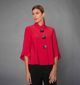 Joseph Ribkoff Red Jacket w/Tulip Sleeves & Button Detail