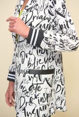 Joseph Ribkoff White/Black Inspire Words Blazer
