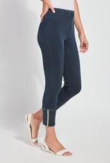 Lysse Dark Denim Cropped Legging w/Ankle Zipper Detail