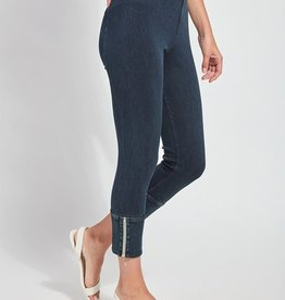 Lysse Dark Denim Cropped Legging w/Ankle Zipper Detail