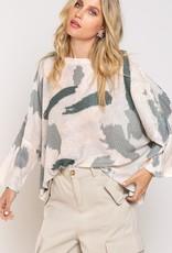 - Vanilla Cream/Sage Camo Lightweight Sweater Top