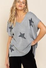 - Charcoal Knit Top w/Star Pattern