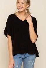- Black Short Sleeve Top w/Button Back Detail