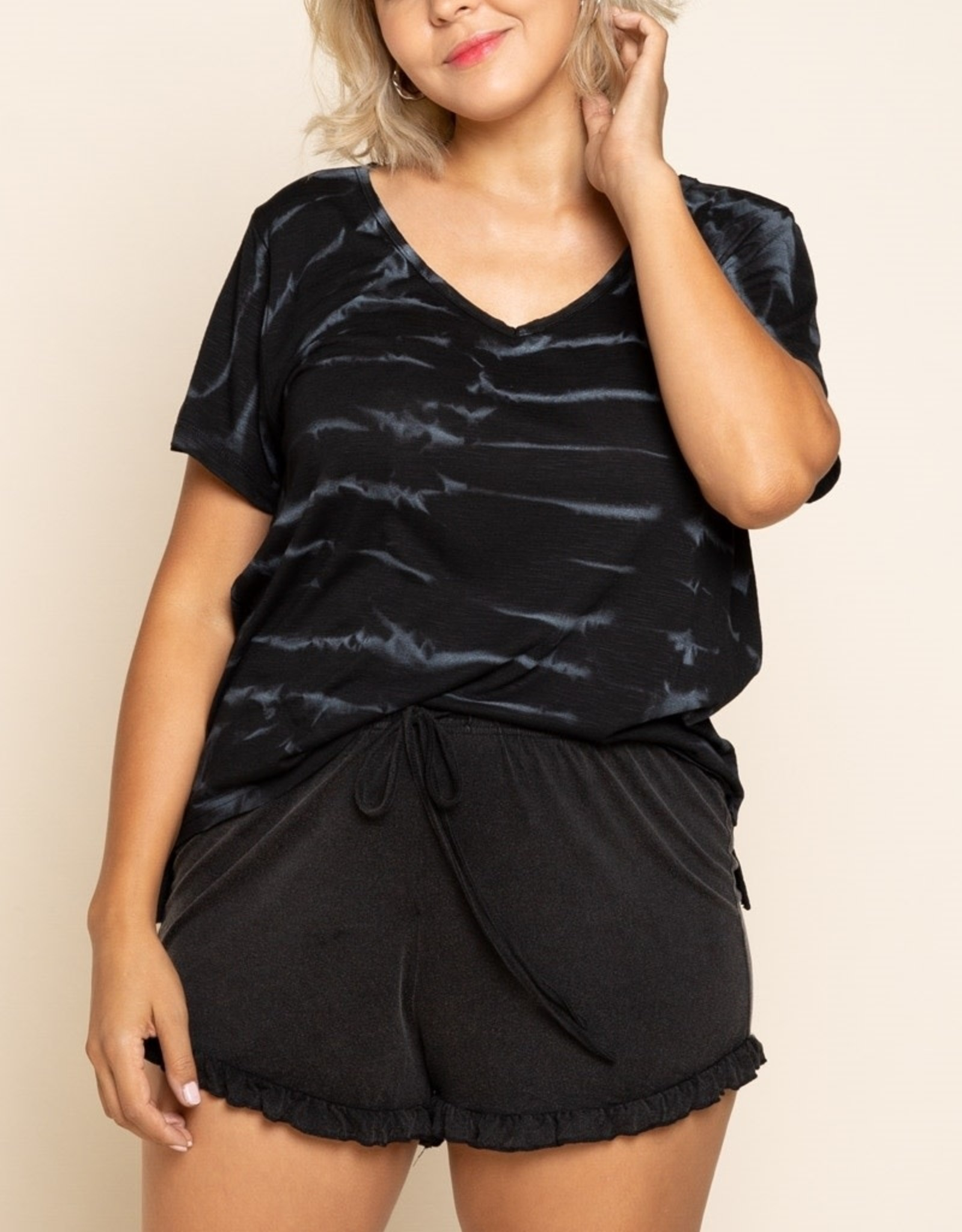 - Black/White Tie-Dye Short Sleeve Top
