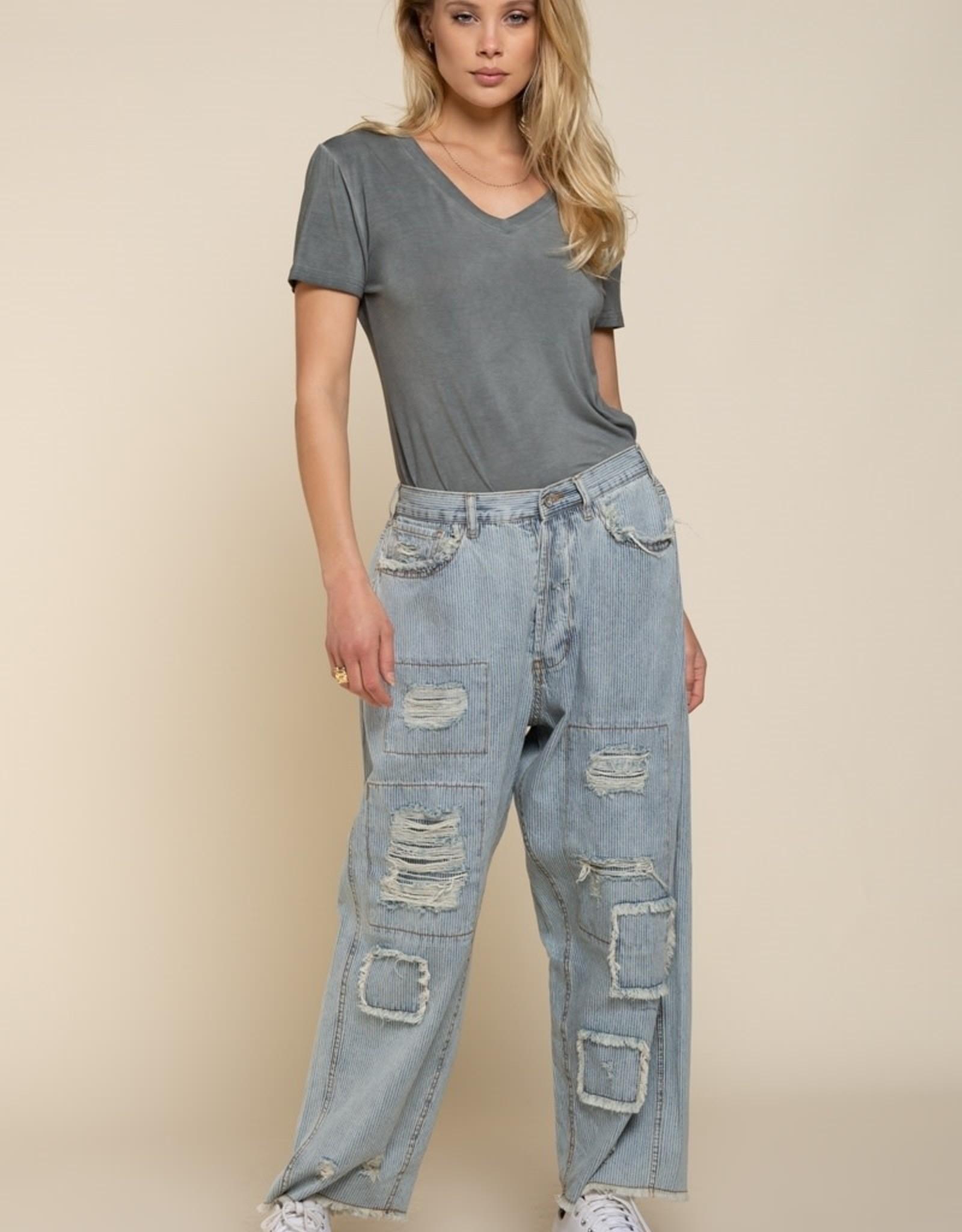 - Vintage Wash Charcoal Short Sleeve Top