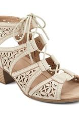 Earth Cream Laser Cut Tie-Up Sandal w/Heel