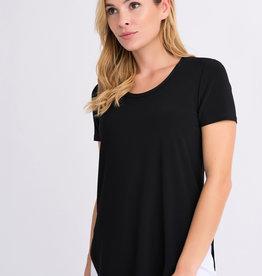 Joseph Ribkoff Solid Black T-Shirt w/Scoop Hem