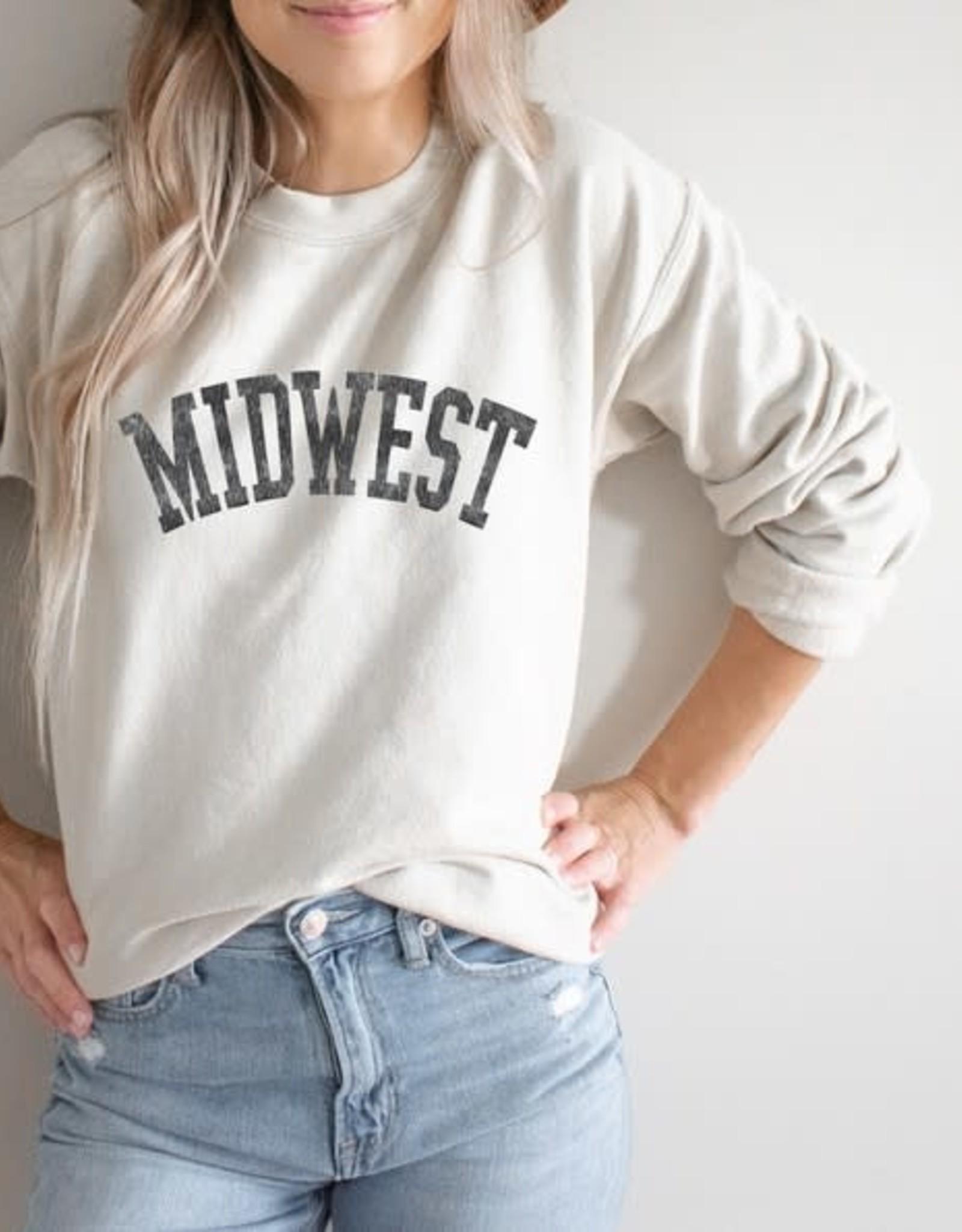 - Beige MIDWEST Crewneck Sweatshirt