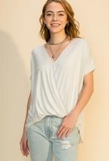 - Pearl Grey Draped Front Short Sleeve Top
