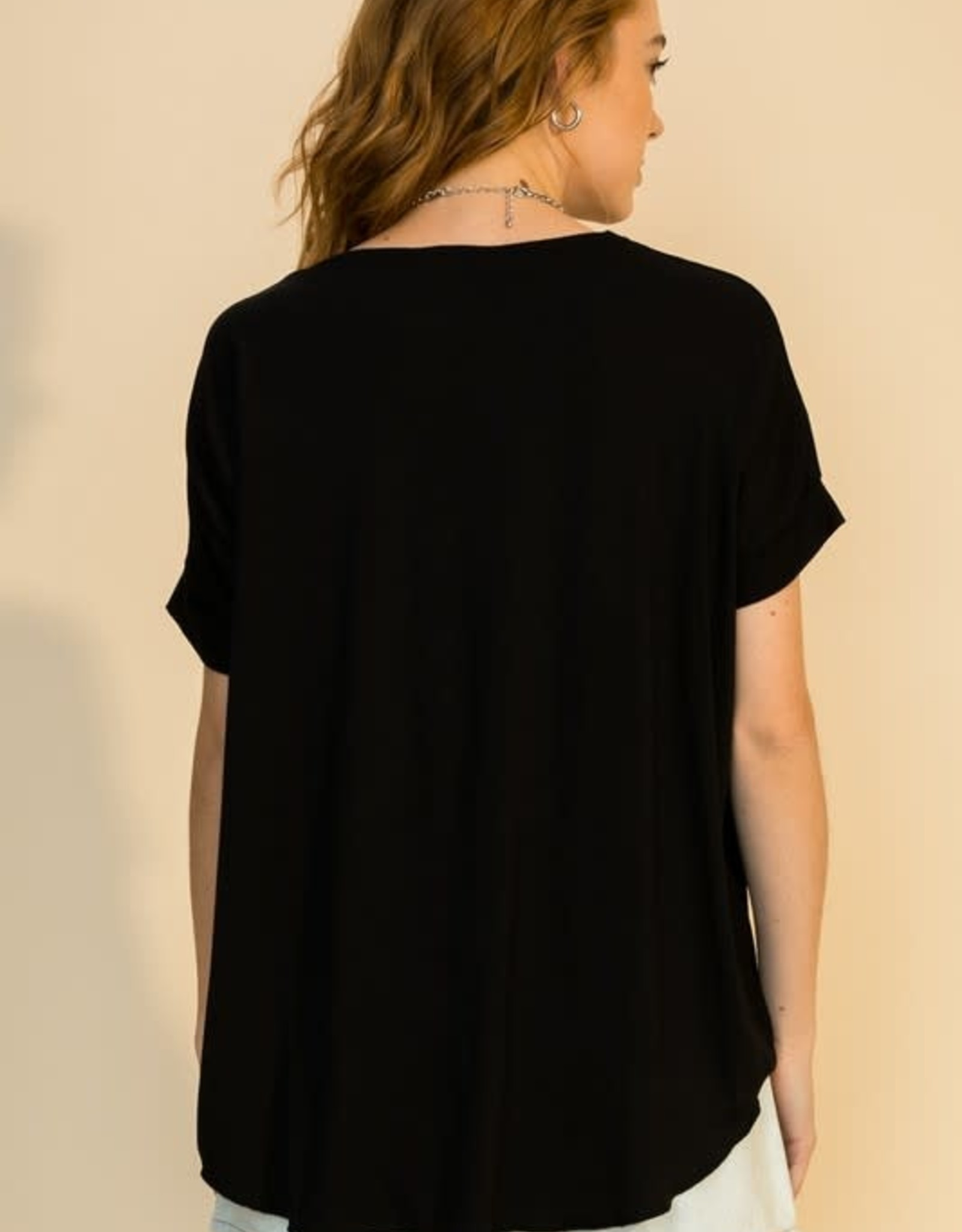 - Black Draped Front Short Sleeve Top
