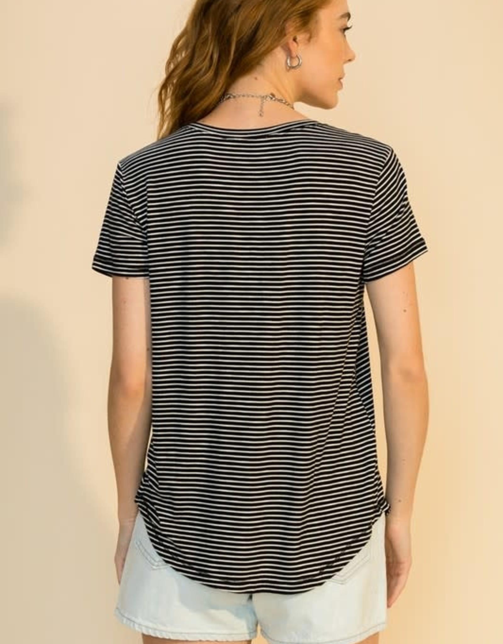 - Black/White Stripe Heathered Texture V-Neck Top