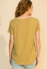 - Golden Lime Heathered Texture V-Neck Top