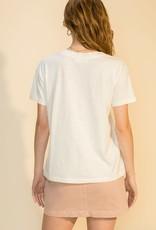- Bone Dropped Shoulder Loose V-Neck  T-Shirt