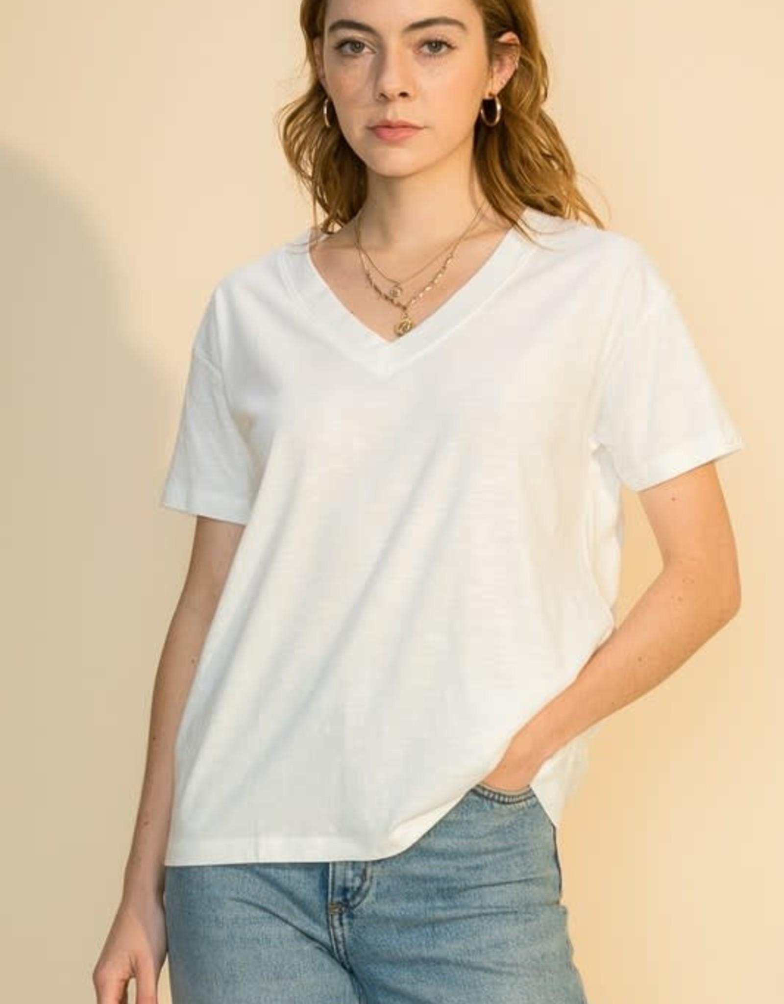 - Off White Dropped Shoulder Loose V-Neck  T-Shirt