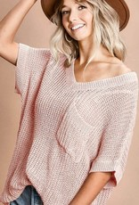 Blush Short Sleeve Sweater Top w/V-Neck