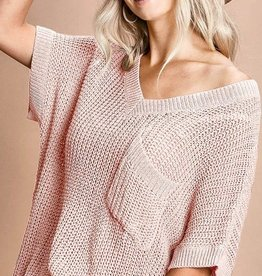Blush Short Sleeve Sweater Top w/V-Neck