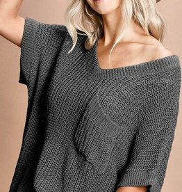 Charcoal Short Sleeve Sweater Top w/V-Neck