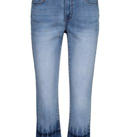 Tribal Light Wash Cropped Jean w/Dyed Hem