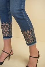 Joseph Ribkoff Medium Wash Ankle Jean w/Bling Cutout Hem