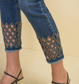 Joseph Ribkoff Medium Wash Ankle Jean w/Bling Cutout Hem