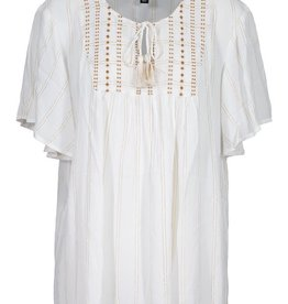 Tribal White & Gold Flutter Sleeve Blouse w/Tassel