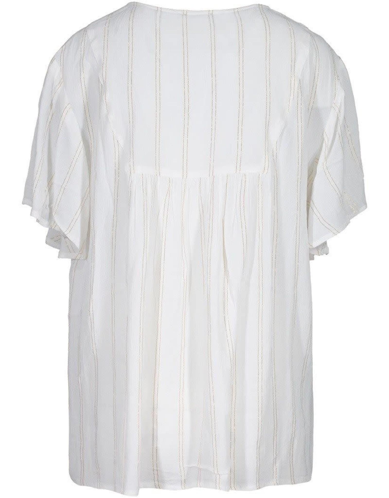 Tribal White & Gold Flutter Sleeve Blouse w/Tassel