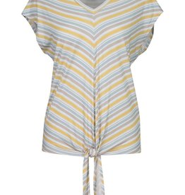 Tribal Yellow/Blue Stripe Top w/Tie Front