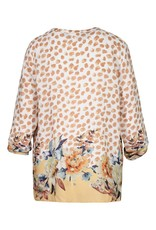 Tribal Golden Floral & Dot Print Blouse w/Roll up Sleeve