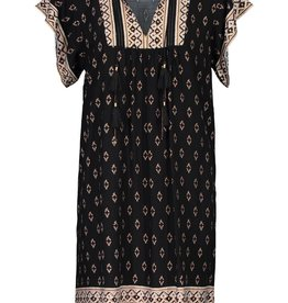 Tribal Black/Gold Flutter Sleeve Dress w/Tassels